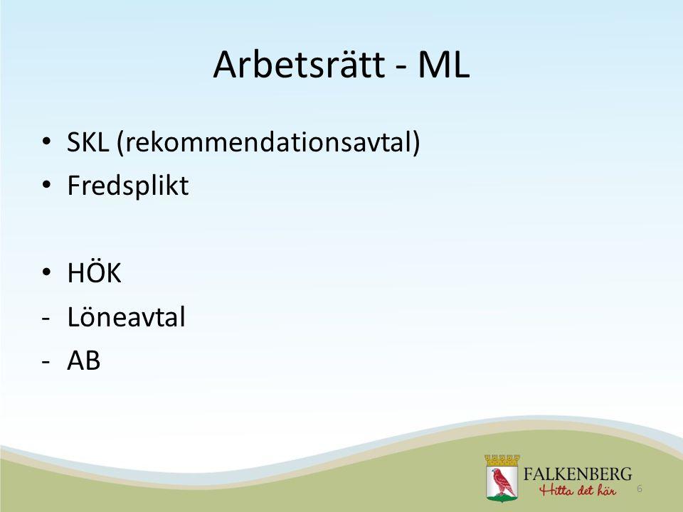 Arbetsrätt - ML SKL (rekommendationsavtal) Fredsplikt HÖK -Löneavtal -AB 6