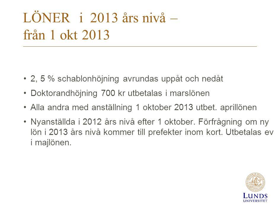 LÖNERi 2013 års nivå – från 1 okt 2013 2, 5 % schablonhöjning avrundas uppåt och nedåt Doktorandhöjning 700 kr utbetalas i marslönen Alla andra med anställning 1 oktober 2013 utbet.