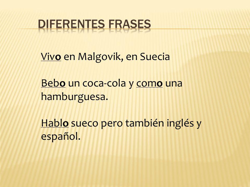 Vivo en Malgovik, en Suecia Bebo un coca-cola y como una hamburguesa. Hablo sueco pero también inglés y español.