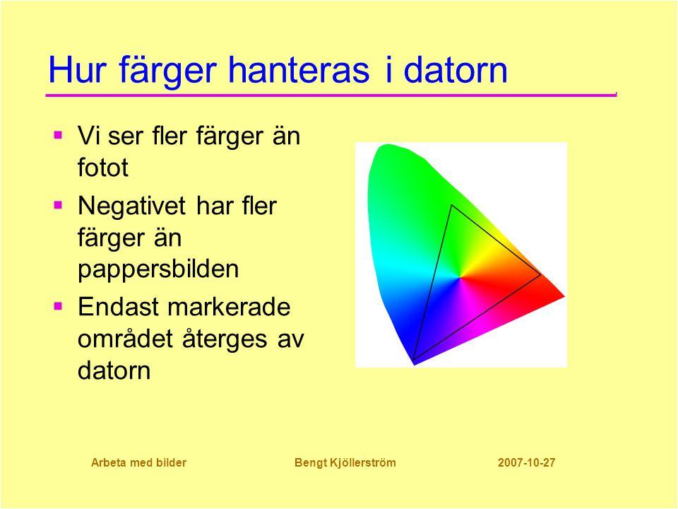 Arbeta med bilder Bengt Kjöllerström 2007-10-27 Hur färger hanteras i datorn  Vi ser fler färger än fotot  Negativet har fler färger än pappersbilden  Endast markerade området återges av datorn