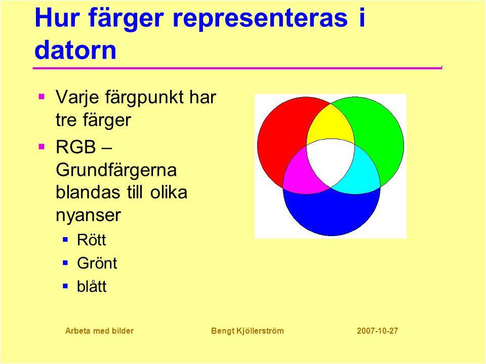 Arbeta med bilder Bengt Kjöllerström 2007-10-27 Hur färger representeras i datorn  Varje färgpunkt har tre färger  RGB – Grundfärgerna blandas till olika nyanser  Rött  Grönt  blått