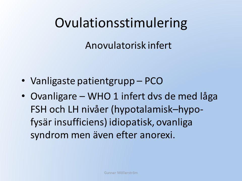 Ovulationsstimulering Vanligaste patientgrupp – PCO Ovanligare – WHO 1 infert dvs de med låga FSH och LH nivåer (hypotalamisk–hypo- fysär insufficiens