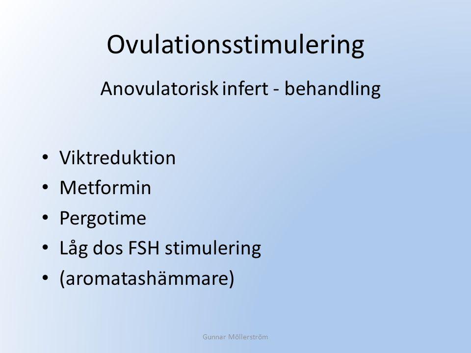 Ovulationsstimulering Viktreduktion Metformin Pergotime Låg dos FSH stimulering (aromatashämmare) Gunnar Möllerström Anovulatorisk infert - behandling