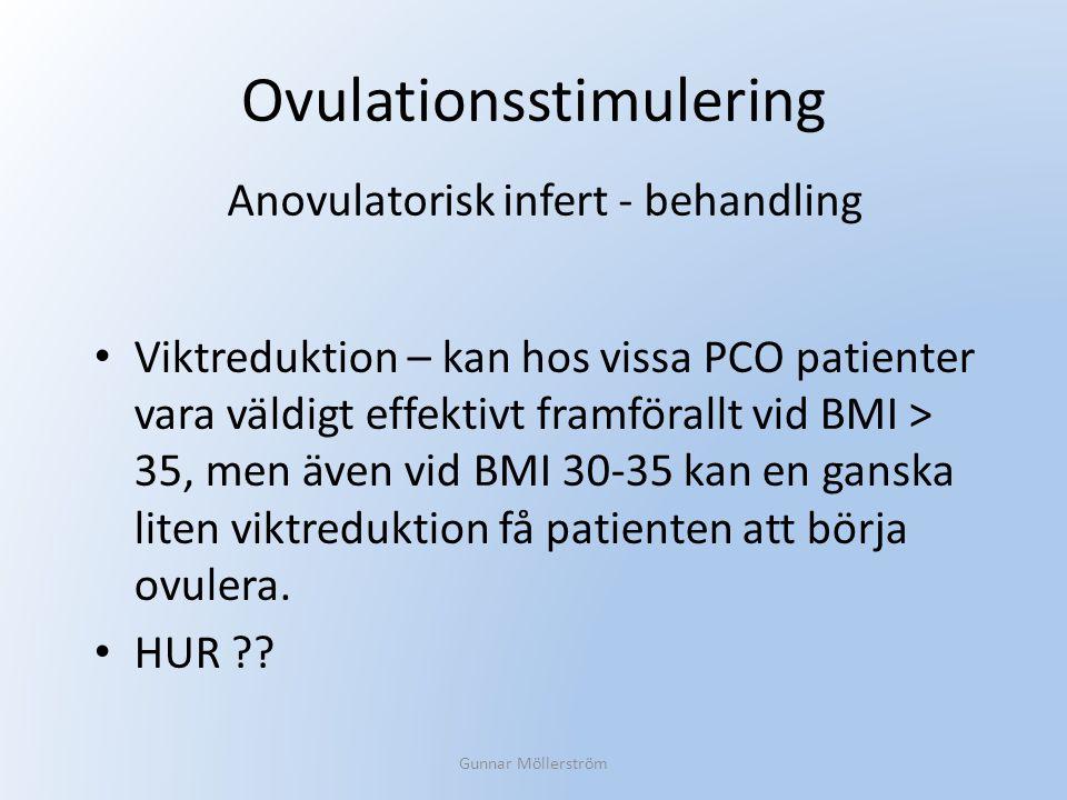 Ovulationsstimulering Viktreduktion – kan hos vissa PCO patienter vara väldigt effektivt framförallt vid BMI > 35, men även vid BMI 30-35 kan en gansk