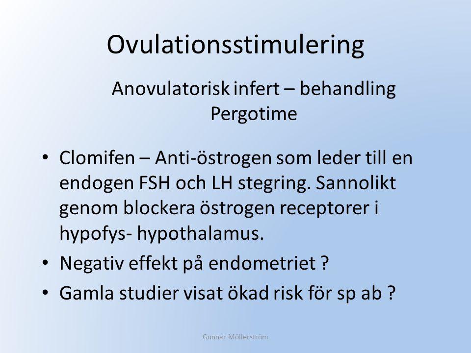 Ovulationsstimulering Clomifen – Anti-östrogen som leder till en endogen FSH och LH stegring. Sannolikt genom blockera östrogen receptorer i hypofys-