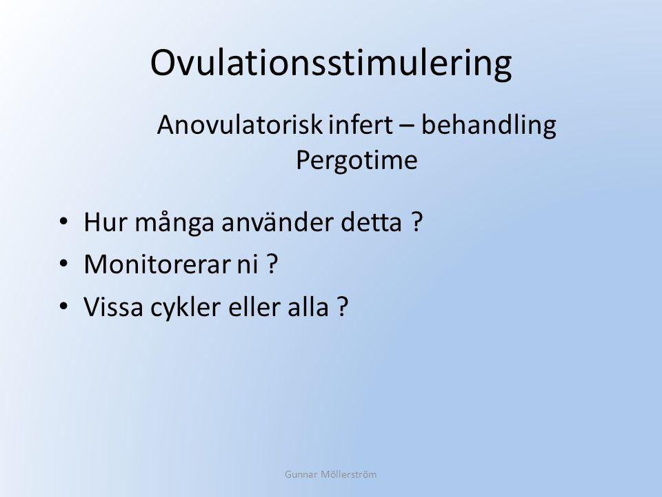 Ovulationsstimulering Hur många använder detta ? Monitorerar ni ? Vissa cykler eller alla ? Gunnar Möllerström Anovulatorisk infert – behandling Pergo