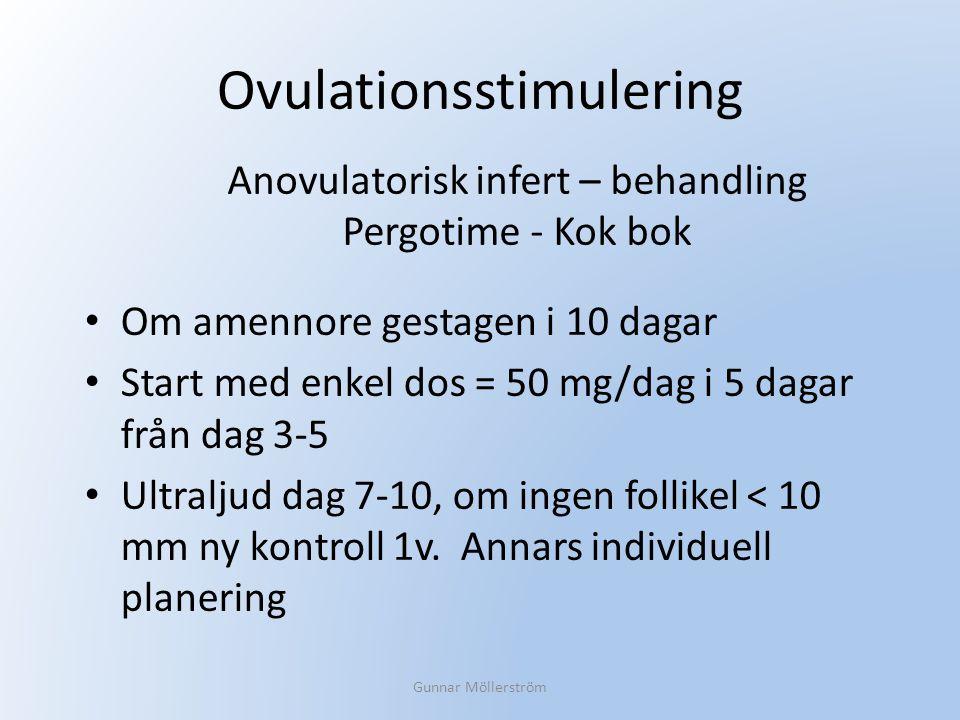 Ovulationsstimulering Om amennore gestagen i 10 dagar Start med enkel dos = 50 mg/dag i 5 dagar från dag 3-5 Ultraljud dag 7-10, om ingen follikel < 1