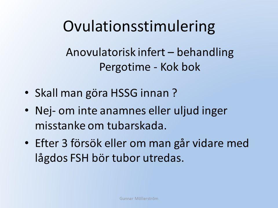Ovulationsstimulering Skall man göra HSSG innan ? Nej- om inte anamnes eller uljud inger misstanke om tubarskada. Efter 3 försök eller om man går vida