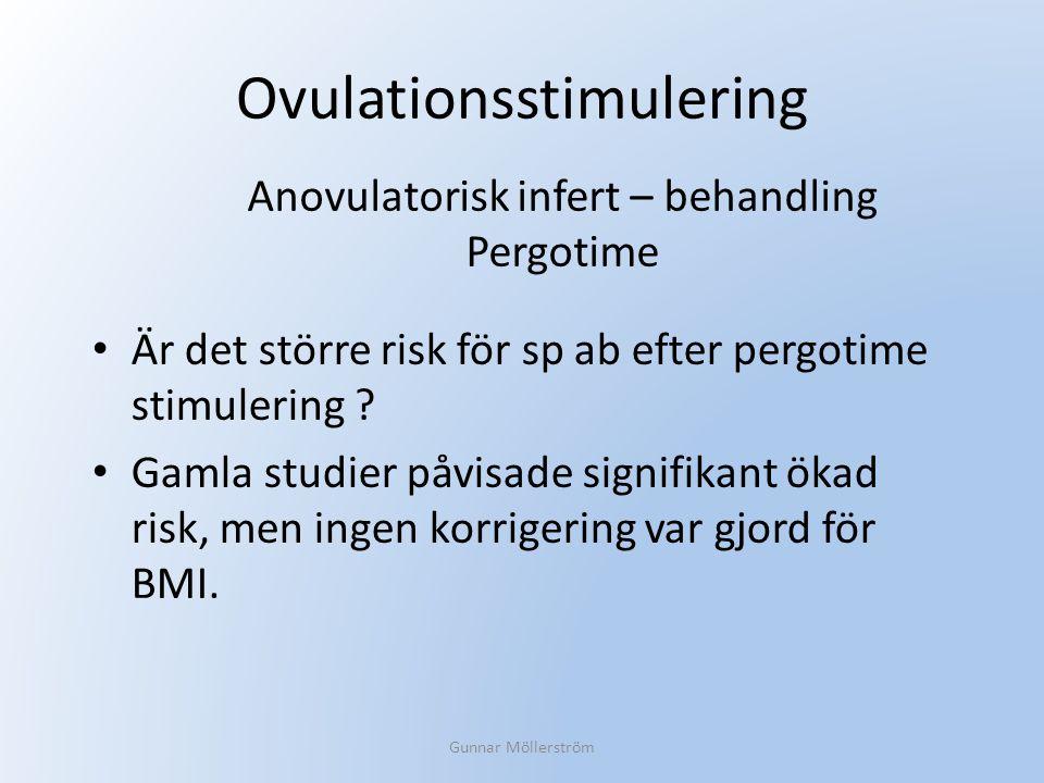 Ovulationsstimulering Är det större risk för sp ab efter pergotime stimulering ? Gamla studier påvisade signifikant ökad risk, men ingen korrigering v
