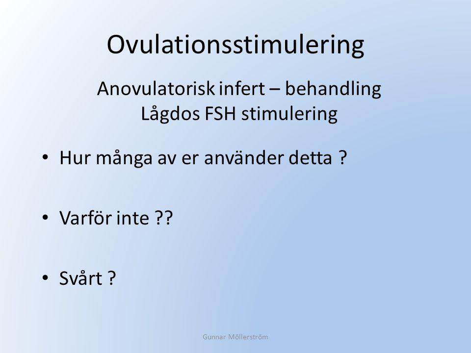 Ovulationsstimulering Hur många av er använder detta ? Varför inte ?? Svårt ? Gunnar Möllerström Anovulatorisk infert – behandling Lågdos FSH stimuler