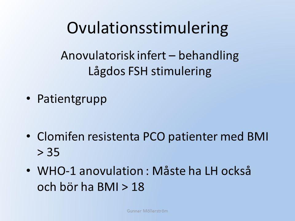 Ovulationsstimulering Patientgrupp Clomifen resistenta PCO patienter med BMI > 35 WHO-1 anovulation : Måste ha LH också och bör ha BMI > 18 Gunnar Möl