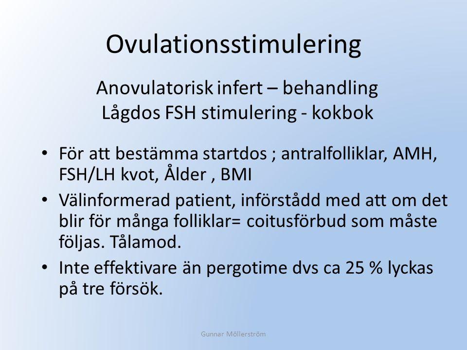 Ovulationsstimulering För att bestämma startdos ; antralfolliklar, AMH, FSH/LH kvot, Ålder, BMI Välinformerad patient, införstådd med att om det blir