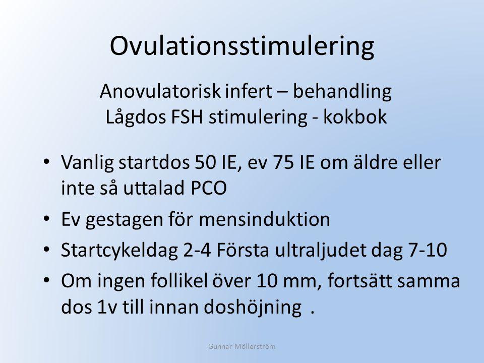 Ovulationsstimulering Vanlig startdos 50 IE, ev 75 IE om äldre eller inte så uttalad PCO Ev gestagen för mensinduktion Startcykeldag 2-4 Första ultral