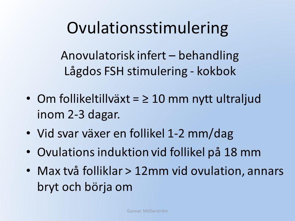 Ovulationsstimulering Om follikeltillväxt = ≥ 10 mm nytt ultraljud inom 2-3 dagar. Vid svar växer en follikel 1-2 mm/dag Ovulations induktion vid foll
