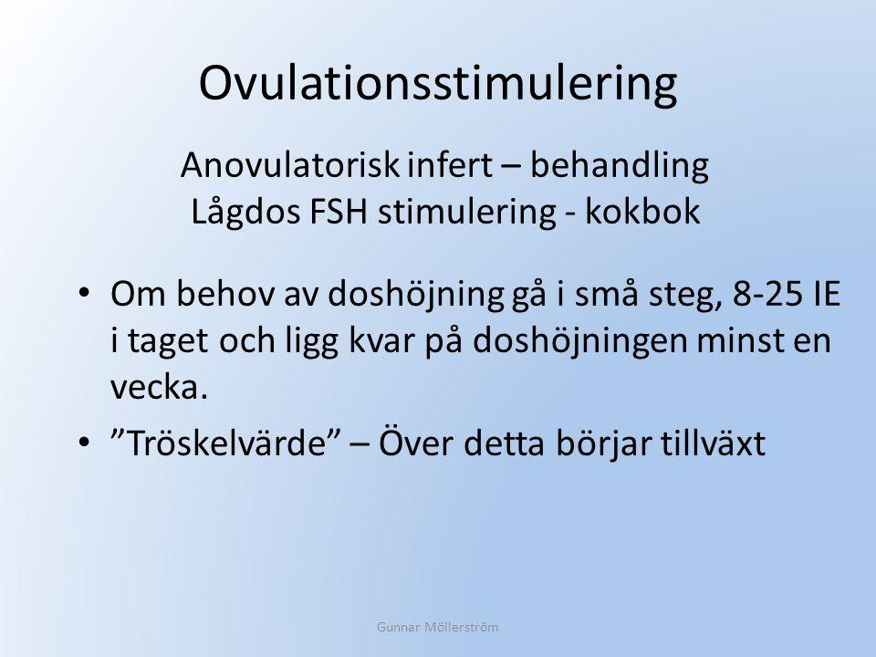 """Ovulationsstimulering Om behov av doshöjning gå i små steg, 8-25 IE i taget och ligg kvar på doshöjningen minst en vecka. """"Tröskelvärde"""" – Över detta"""