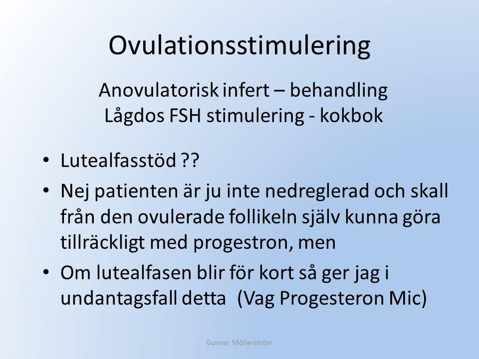 Ovulationsstimulering Lutealfasstöd ?? Nej patienten är ju inte nedreglerad och skall från den ovulerade follikeln själv kunna göra tillräckligt med p