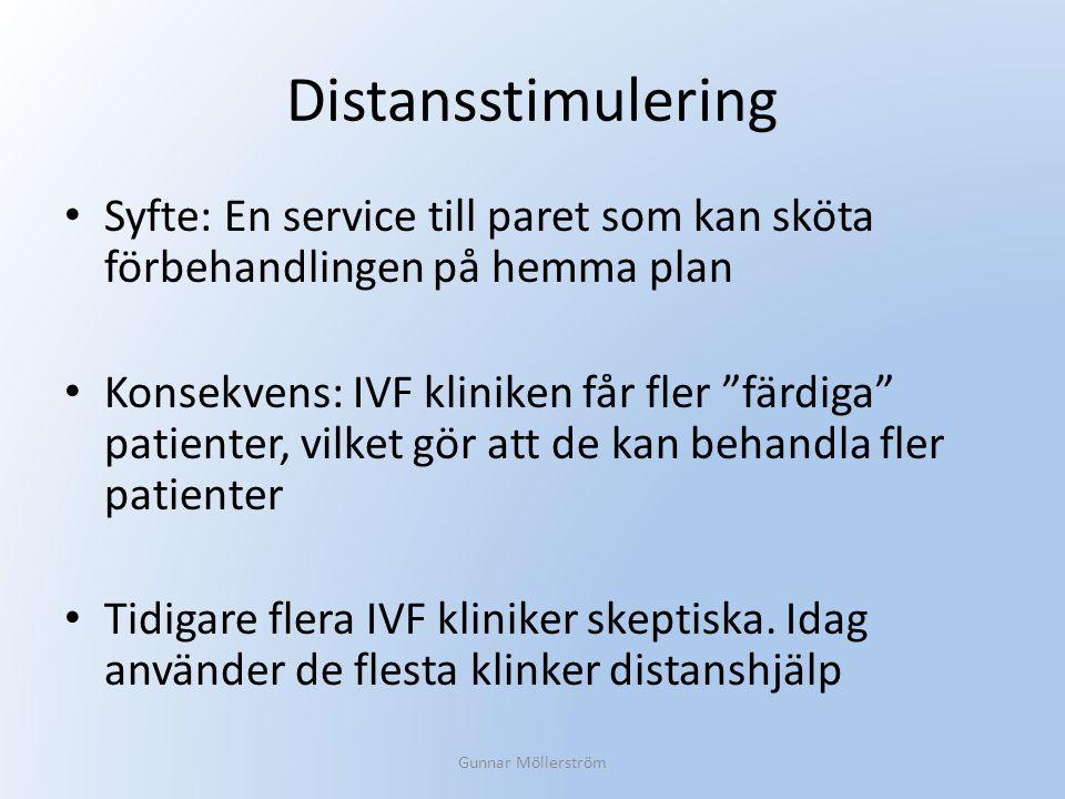 """Distansstimulering Syfte: En service till paret som kan sköta förbehandlingen på hemma plan Konsekvens: IVF kliniken får fler """"färdiga"""" patienter, vil"""