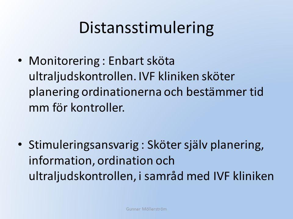 Distansstimulering Monitorering : Enbart sköta ultraljudskontrollen. IVF kliniken sköter planering ordinationerna och bestämmer tid mm för kontroller.