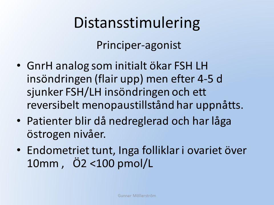 Distansstimulering GnrH analog som initialt ökar FSH LH insöndringen (flair upp) men efter 4-5 d sjunker FSH/LH insöndringen och ett reversibelt menop