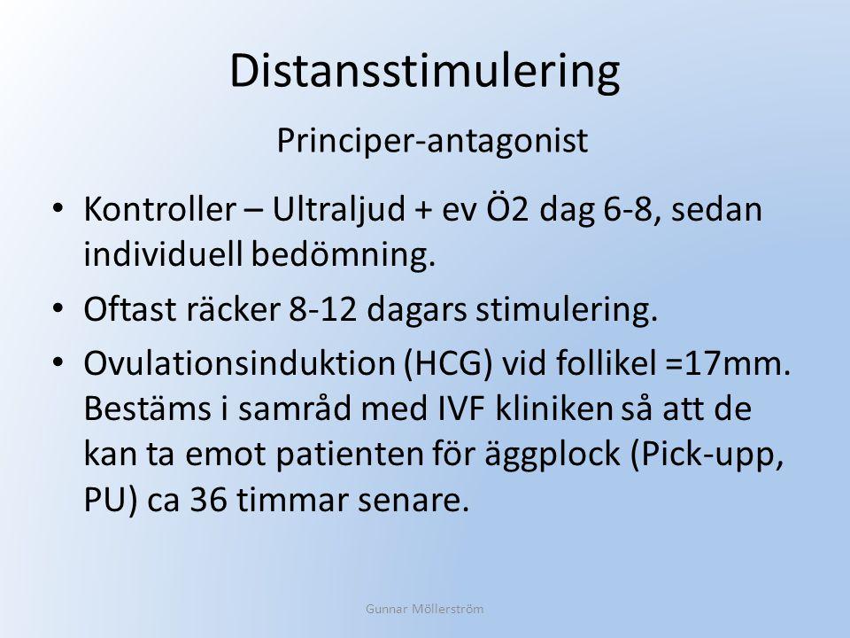 Distansstimulering Kontroller – Ultraljud + ev Ö2 dag 6-8, sedan individuell bedömning. Oftast räcker 8-12 dagars stimulering. Ovulationsinduktion (HC