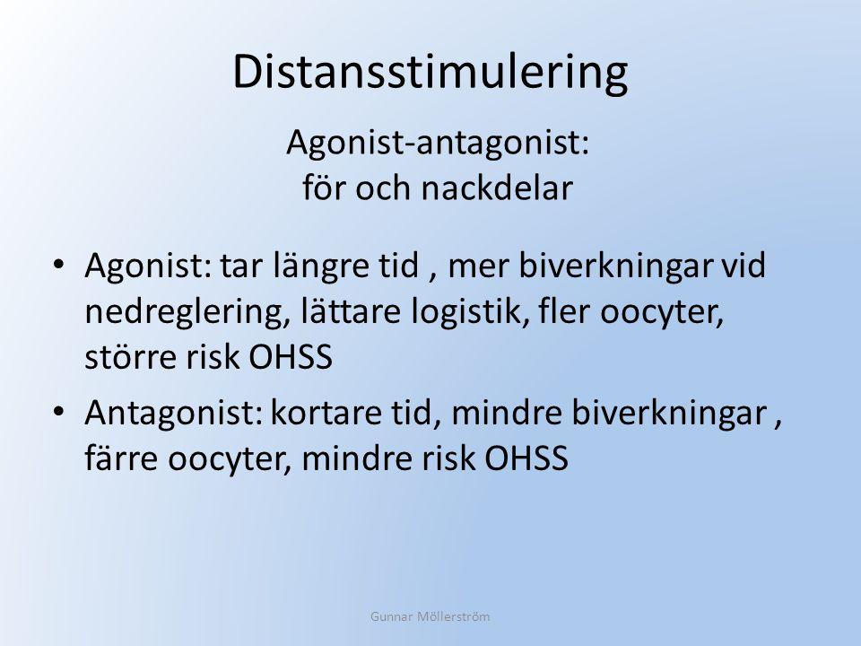 Distansstimulering Agonist: tar längre tid, mer biverkningar vid nedreglering, lättare logistik, fler oocyter, större risk OHSS Antagonist: kortare ti