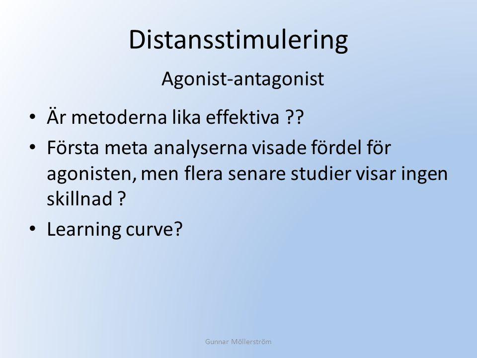 Distansstimulering Är metoderna lika effektiva ?? Första meta analyserna visade fördel för agonisten, men flera senare studier visar ingen skillnad ?