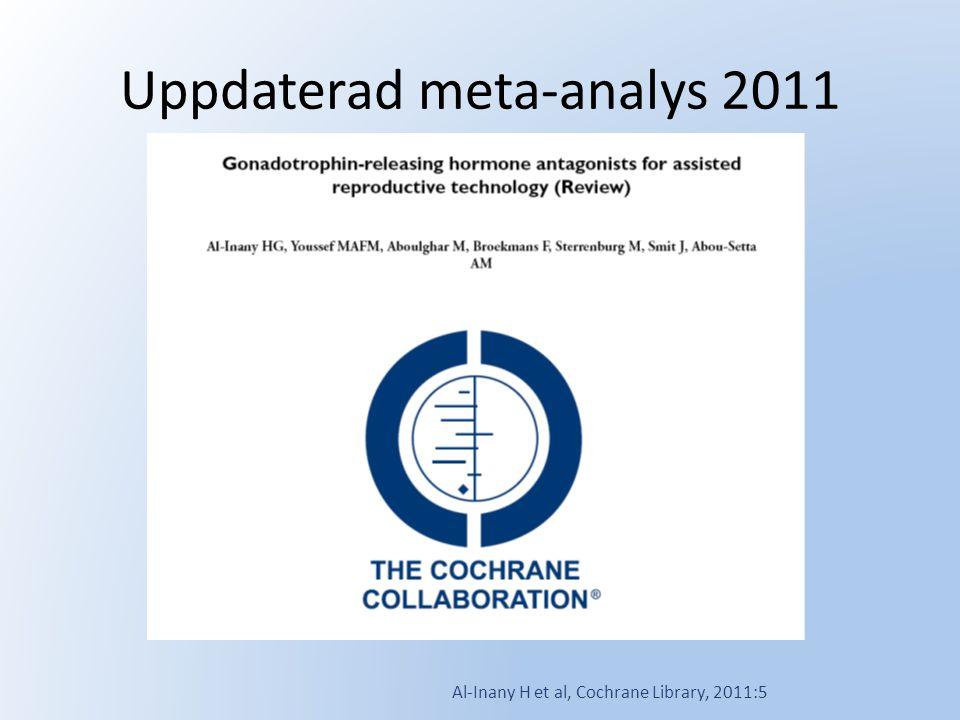 Uppdaterad meta-analys 2011 Al-Inany H et al, Cochrane Library, 2011:5