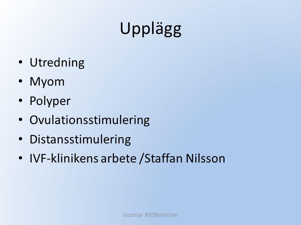 Upplägg Utredning Myom Polyper Ovulationsstimulering Distansstimulering IVF-klinikens arbete /Staffan Nilsson Gunnar Möllerström
