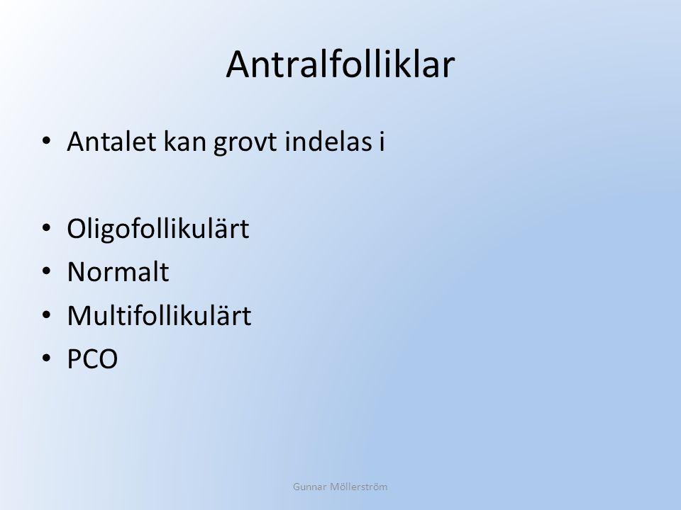 Antralfolliklar Antalet kan grovt indelas i Oligofollikulärt Normalt Multifollikulärt PCO Gunnar Möllerström