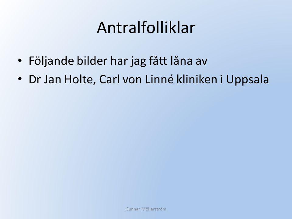 Antralfolliklar Följande bilder har jag fått låna av Dr Jan Holte, Carl von Linné kliniken i Uppsala Gunnar Möllerström
