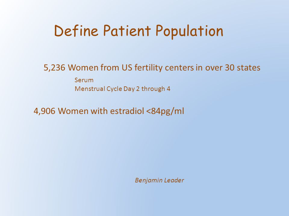 Define Patient Population 5,236 Women from US fertility centers in over 30 states Serum Menstrual Cycle Day 2 through 4 4,906 Women with estradiol <84pg/ml Benjamin Leader