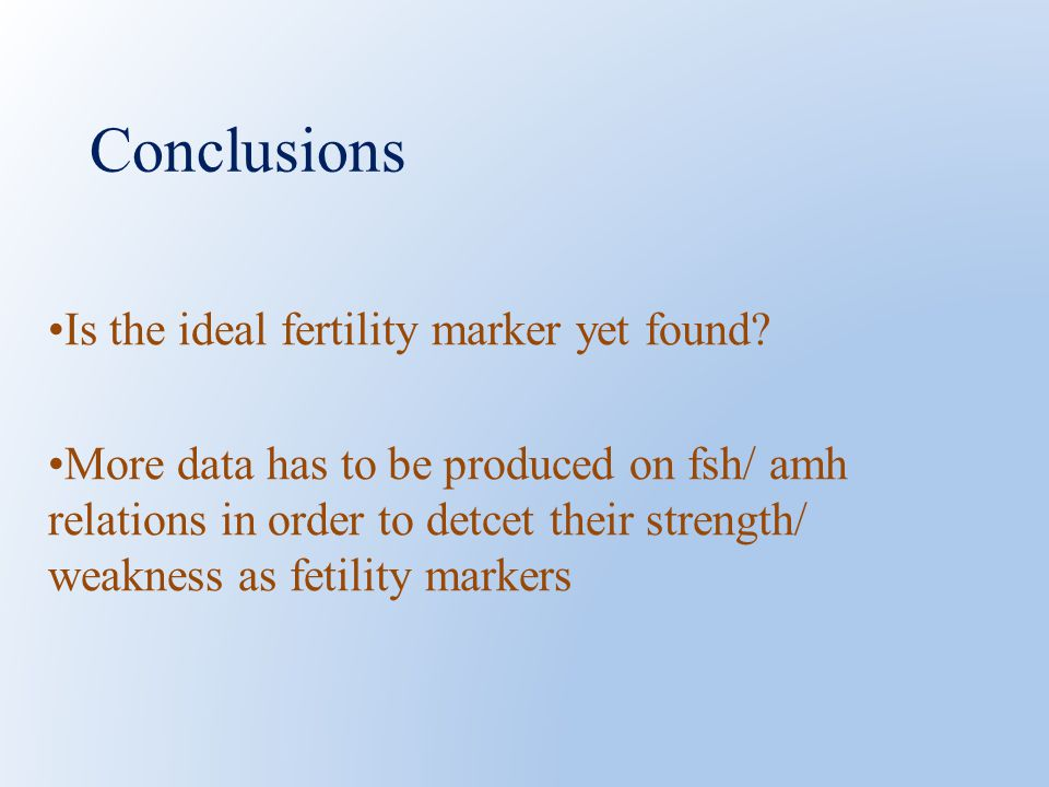 Conclusions Is the ideal fertility marker yet found.