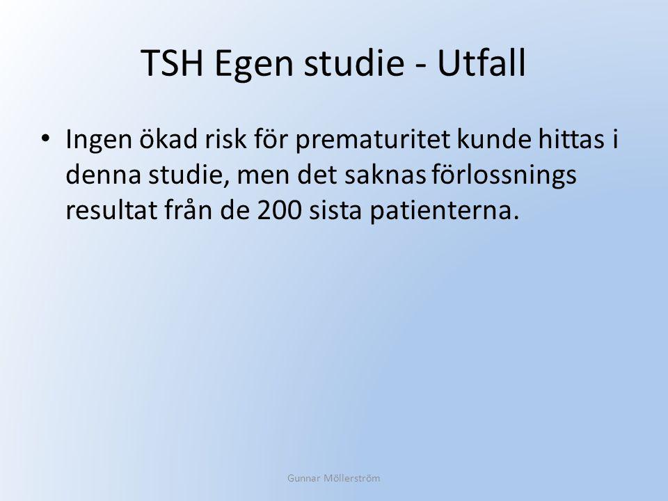 TSH Egen studie - Utfall Ingen ökad risk för prematuritet kunde hittas i denna studie, men det saknas förlossnings resultat från de 200 sista patiente