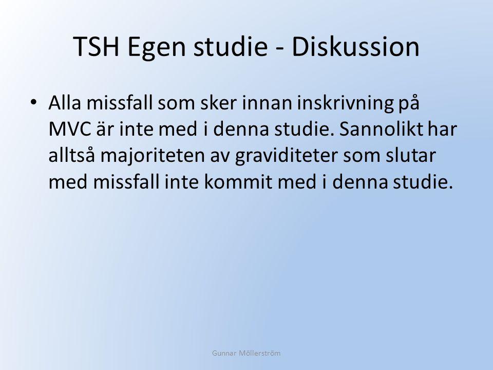 TSH Egen studie - Diskussion Alla missfall som sker innan inskrivning på MVC är inte med i denna studie. Sannolikt har alltså majoriteten av gravidite