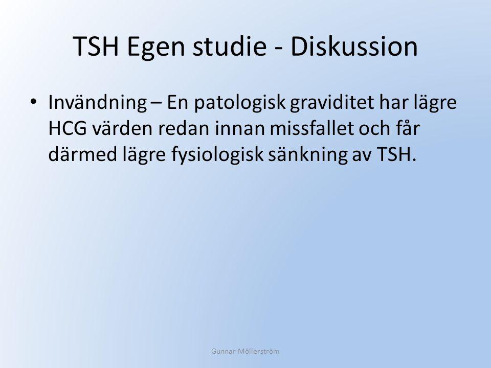 TSH Egen studie - Diskussion Invändning – En patologisk graviditet har lägre HCG värden redan innan missfallet och får därmed lägre fysiologisk sänkni