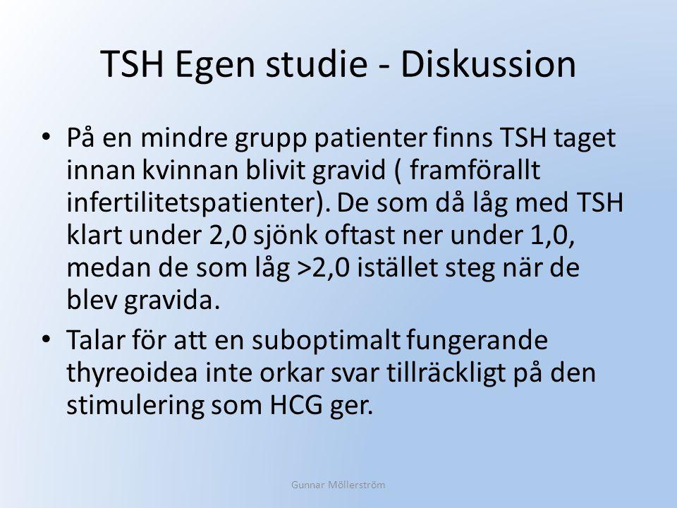 TSH Egen studie - Diskussion På en mindre grupp patienter finns TSH taget innan kvinnan blivit gravid ( framförallt infertilitetspatienter). De som då