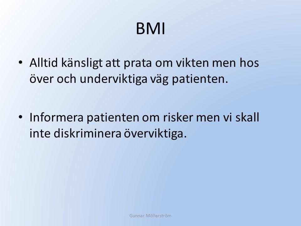 BMI Alltid känsligt att prata om vikten men hos över och underviktiga väg patienten. Informera patienten om risker men vi skall inte diskriminera över