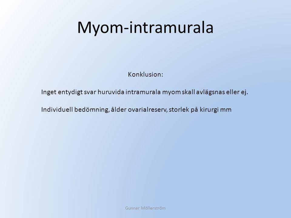 Myom-intramurala Gunnar Möllerström Konklusion: Inget entydigt svar huruvida intramurala myom skall avlägsnas eller ej. Individuell bedömning, ålder o