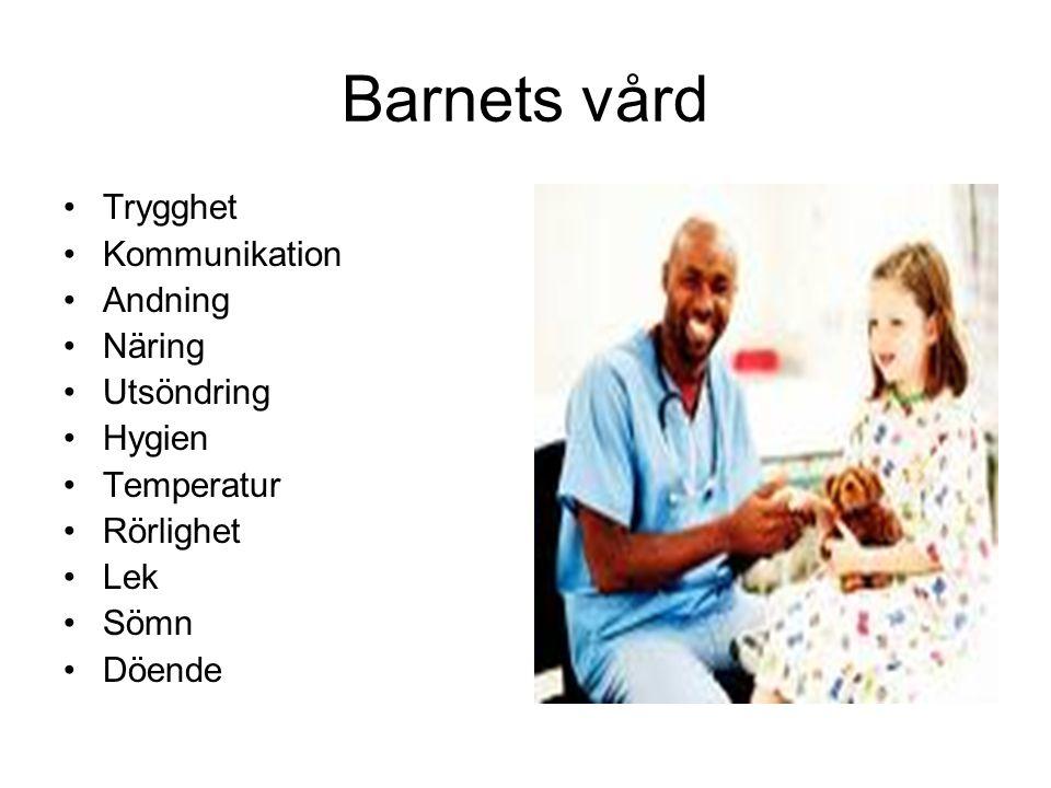 Barnets vård Trygghet Kommunikation Andning Näring Utsöndring Hygien Temperatur Rörlighet Lek Sömn Döende