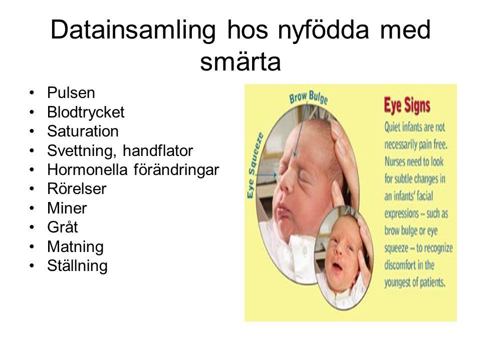 Datainsamling hos nyfödda med smärta Pulsen Blodtrycket Saturation Svettning, handflator Hormonella förändringar Rörelser Miner Gråt Matning Ställning