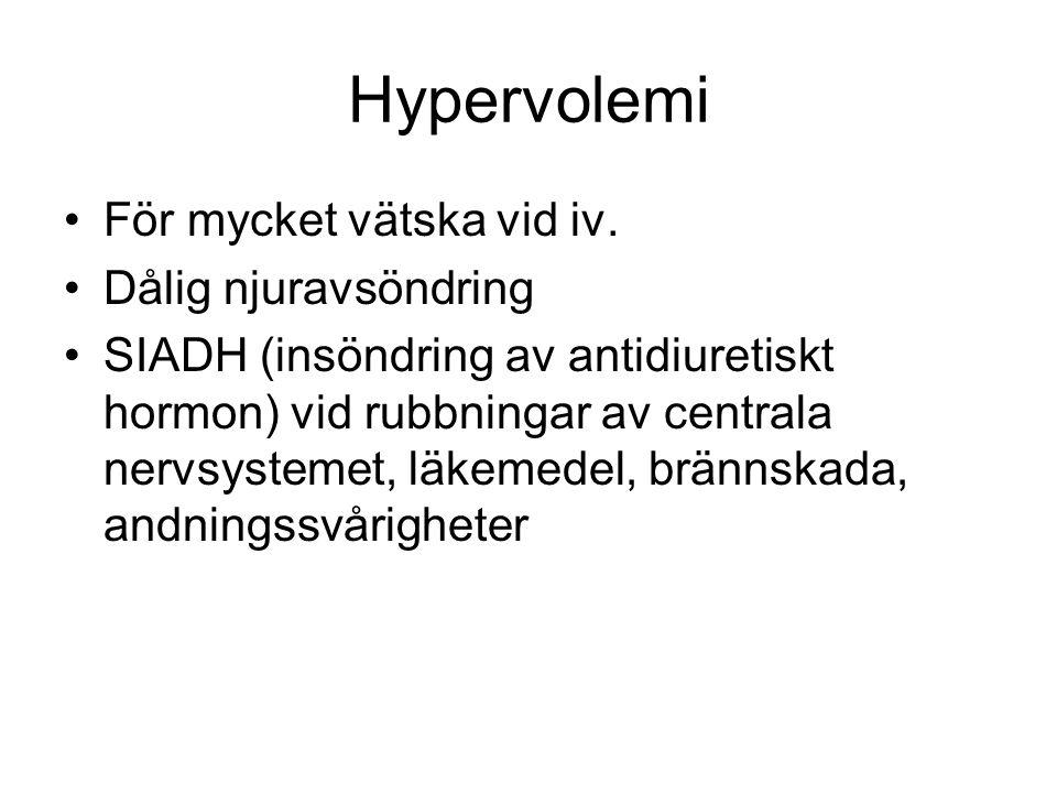 Hypervolemi För mycket vätska vid iv.