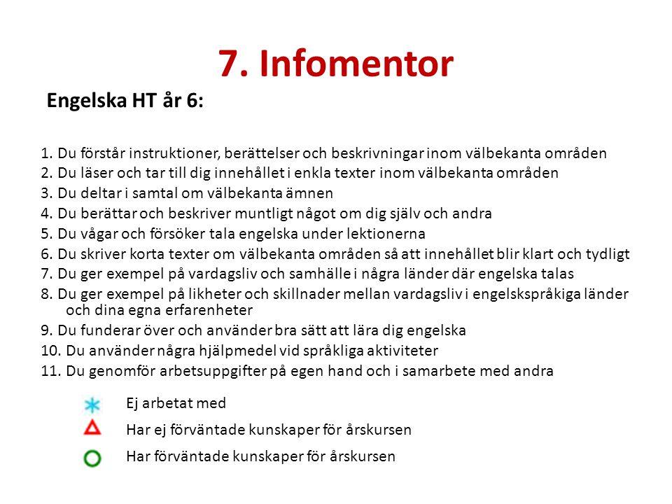 7. Infomentor 1. Du förstår instruktioner, berättelser och beskrivningar inom välbekanta områden 2. Du läser och tar till dig innehållet i enkla texte