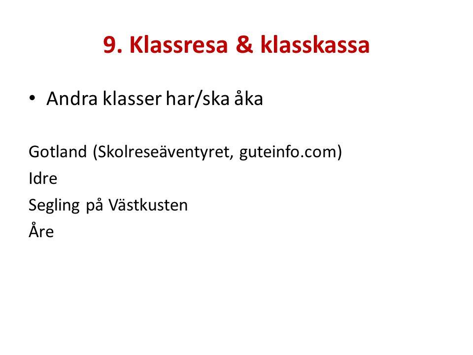 9. Klassresa & klasskassa Andra klasser har/ska åka Gotland (Skolreseäventyret, guteinfo.com) Idre Segling på Västkusten Åre
