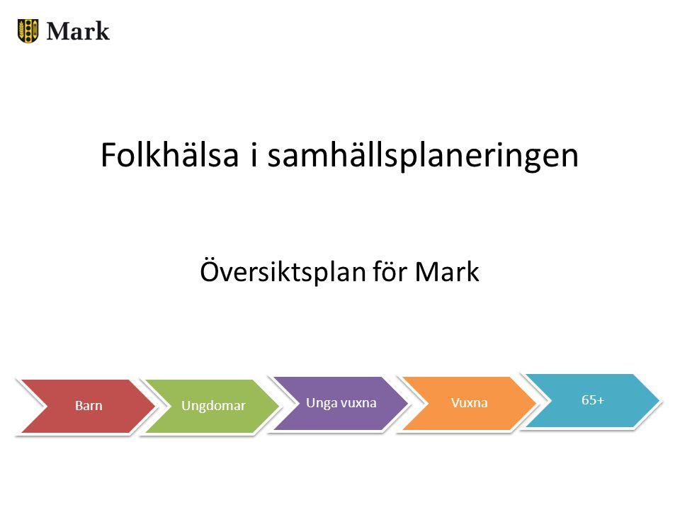 Folkhälsa i samhällsplaneringen Översiktsplan för Mark 65+ VuxnaUnga vuxna UngdomarBarn