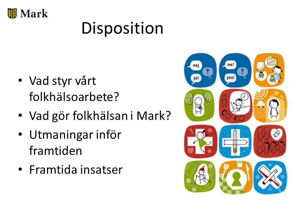 Disposition Vad styr vårt folkhälsoarbete? Vad gör folkhälsan i Mark? Utmaningar inför framtiden Framtida insatser