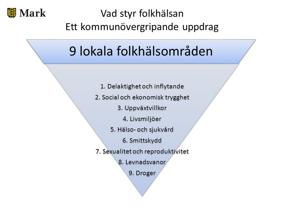 Lokal folkhälsopolicy 9 folkhälsoområden i linje med de nationella målområdena.