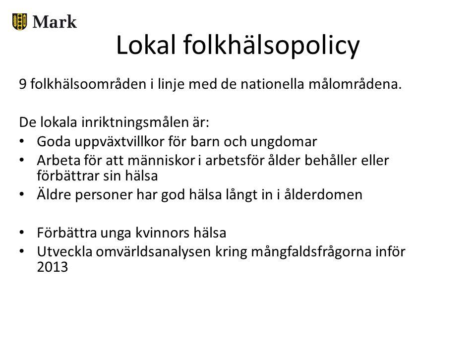 Lokal folkhälsopolicy 9 folkhälsoområden i linje med de nationella målområdena. De lokala inriktningsmålen är: Goda uppväxtvillkor för barn och ungdom
