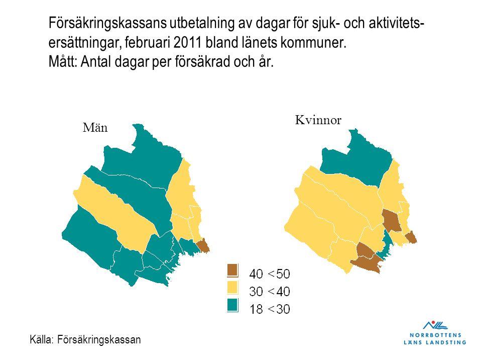 Bra självskattad hälsa bland kvinnor och män i Norrbotten åldrarna 16 till 64 år, åren 2006 och 2010.