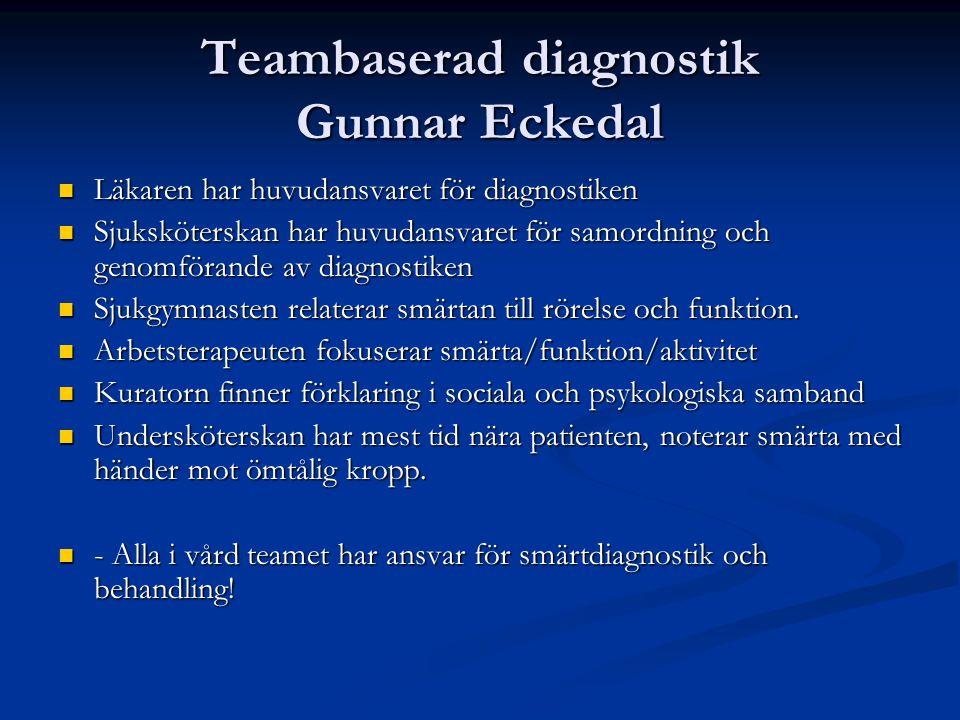 Teambaserad diagnostik Gunnar Eckedal Läkaren har huvudansvaret för diagnostiken Läkaren har huvudansvaret för diagnostiken Sjuksköterskan har huvudan