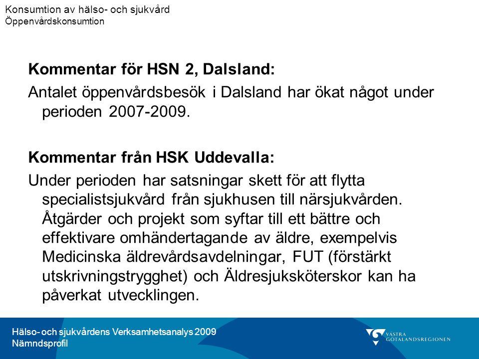 Hälso- och sjukvårdens Verksamhetsanalys 2009 Nämndsprofil Kommentar för HSN 2, Dalsland: Antalet öppenvårdsbesök i Dalsland har ökat något under perioden 2007-2009.